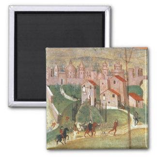 La ciudad de Prato (fresco) Imanes De Nevera