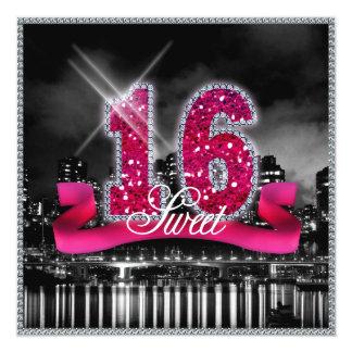 """La ciudad enciende el dulce dieciséis ID117 rosado Invitación 5.25"""" X 5.25"""""""
