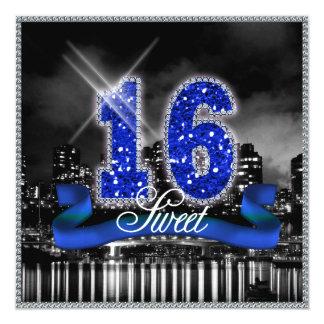 """La ciudad enciende el dulce dieciséis ID118 azul Invitación 5.25"""" X 5.25"""""""