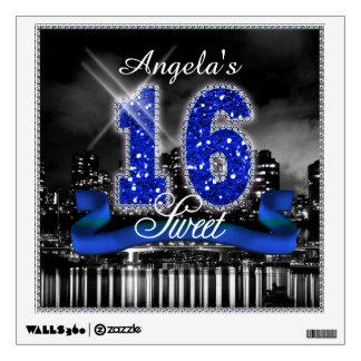 La ciudad enciende el dulce dieciséis ID118 azul Vinilo Decorativo