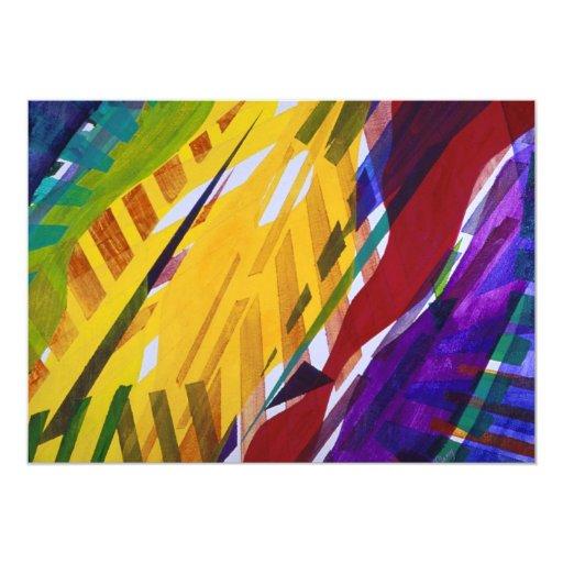 La ciudad II - corrientes abstractas del arco iris Invitación 12,7 X 17,8 Cm