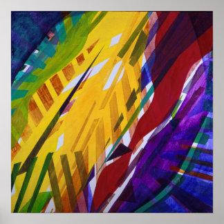 La ciudad II - corrientes abstractas del arco iris Poster