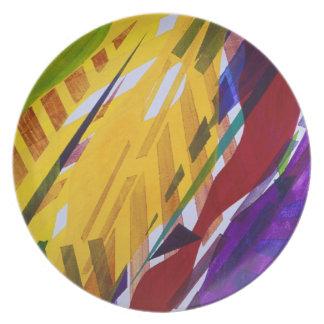La ciudad II - corrientes abstractas del arco iris Plato Para Fiesta