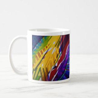 La ciudad II - corrientes abstractas del arco iris Tazas