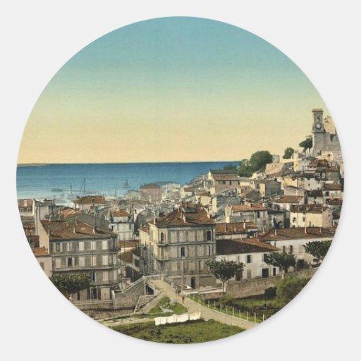 La ciudad vieja, obra clásica Photochrom de Pegatina Redonda