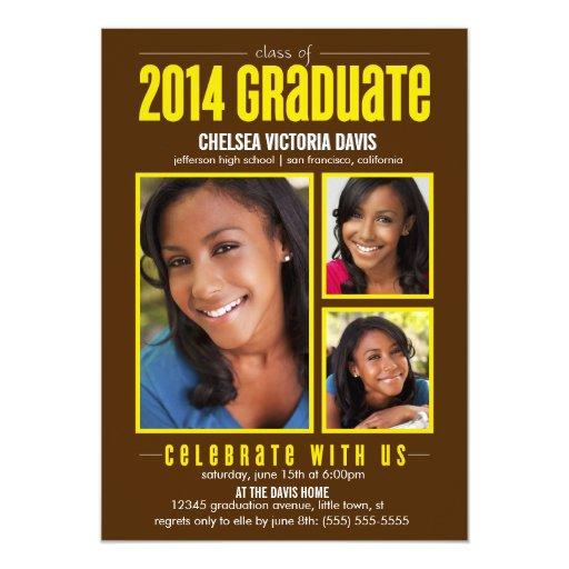La clase amarilla de Brown de la foto graduada Invitación 12,7 X 17,8 Cm