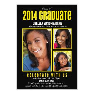 La clase amarilla negra de la foto graduada 2014 comunicados personalizados