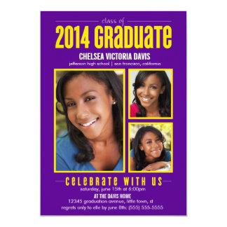 La clase amarilla púrpura de la foto graduada 2014 invitacion personalizada