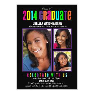 La clase colorida de la foto graduada 2014 invita invitacion personal