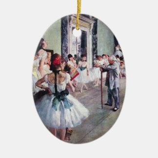 La clase de danza de Edgar Degas, arte del ballet Adorno Navideño Ovalado De Cerámica