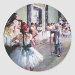 La clase de danza de Edgar Degas, arte del ballet Pegatina Redonda
