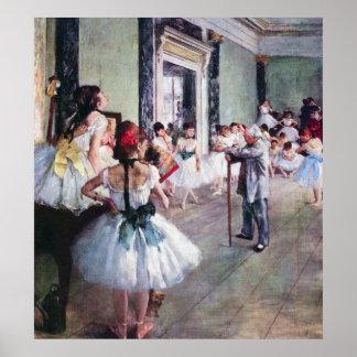 La clase de danza de Edgar Degas, arte del ballet Póster