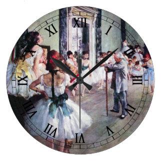 La clase de danza de Edgar Degas, arte del ballet Reloj Redondo Grande
