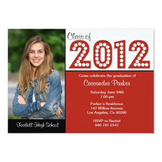 """La clase de graduación de 2012 rojos ENROLLA ABAJO Invitación 5"""" X 7"""""""