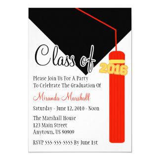 """La clase de la graduación 2016 de la borla invita invitación 5"""" x 7"""""""