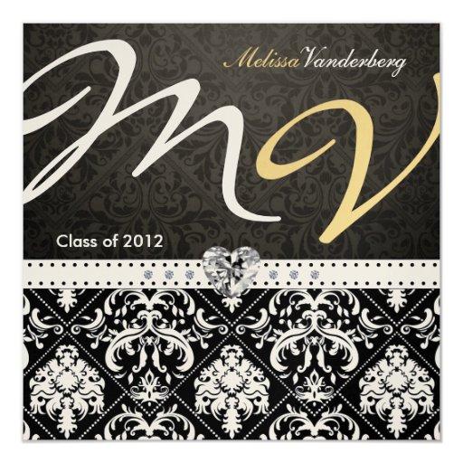 """La clase elegante del damasco del negro/del oro de invitación 5.25"""" x 5.25"""""""