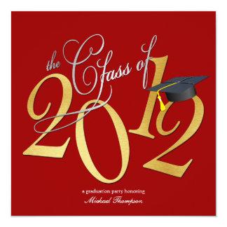 """La clase enrrollada de 2012 invita (rojo/el oro) invitación 5.25"""" x 5.25"""""""