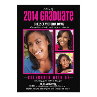 La clase rosada negra de la foto graduada 2014 invitaciones personalizada