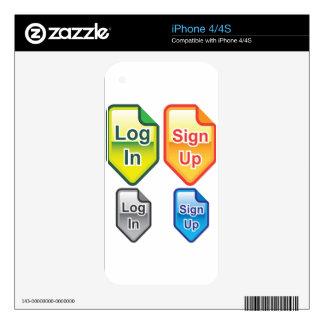 La clave firma para arriba colores de los iconos iPhone 4 skins