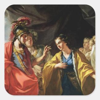 La clemencia de Alexander el grande Pegatina Cuadrada