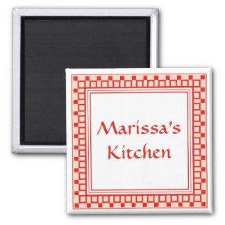 La cocina ajusta rojo imán cuadrado