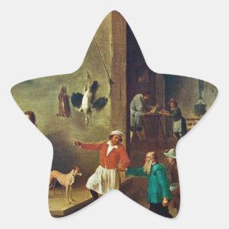 La cocina de David Teniers el más joven Pegatina En Forma De Estrella
