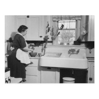 La cocina de la abuela - vintage tarjeta postal