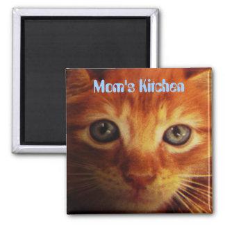La cocina de la mamá, azul observó el gatito amari imán cuadrado