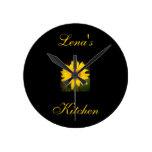 La cocina de Reloj-Lena personalizado del girasol