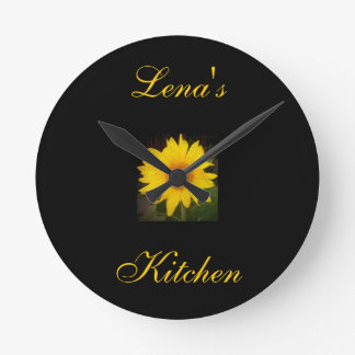 La cocina de Reloj-Lena personalizado del girasol Reloj Redondo Mediano