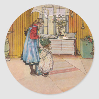 La cocina del artista del sueco de Carl Larsson Pegatina Redonda