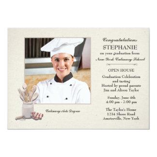 """La cocina equipa la graduación culinaria de la invitación 5"""" x 7"""""""