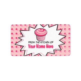 La cocina etiqueta - arte pop - la magdalena rosad etiquetas de dirección