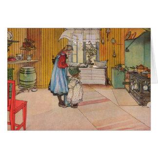 La cocina por el personalizable de Carl Larsson Tarjeta De Felicitación