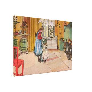 La cocina por el vintage Suecia 1898 de Carl Larss Impresiones En Lona Estiradas