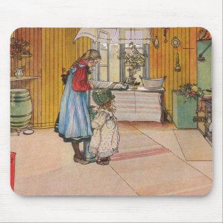 La cocina por la impresión del arte de Carl Lars Tapete De Ratón