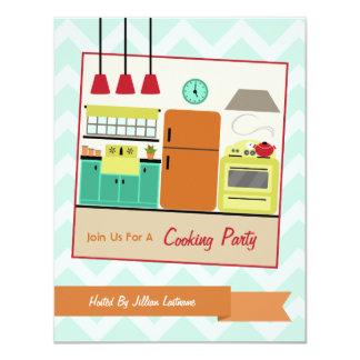 """La cocina retra colorida que cocina al fiesta invitación 4.25"""" x 5.5"""""""