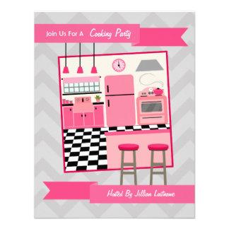 La cocina rosada retra que cocina al fiesta invita invitación personalizada