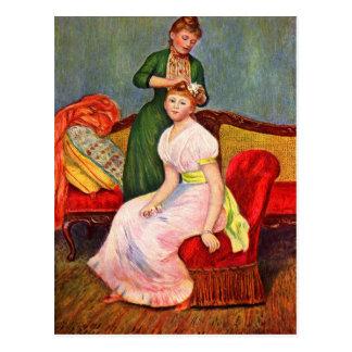 La coiffure by Pierre Renoir Postcard