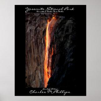 La cola de caballo cae las caídas del fuego póster