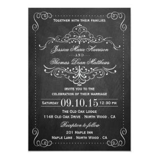 """La colección adornada del boda de la pizarra - invitación 5"""" x 7"""""""