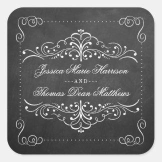 La colección adornada del boda de la pizarra - pegatina cuadrada