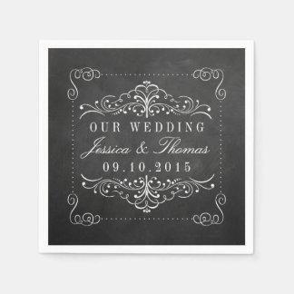 La colección adornada del boda de la pizarra servilletas de papel