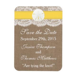 La colección amarilla del boda de playa del dólar iman rectangular