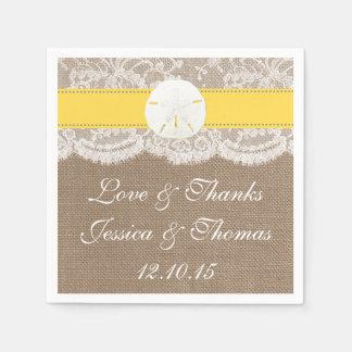 La colección amarilla del boda de playa del dólar servilleta de papel