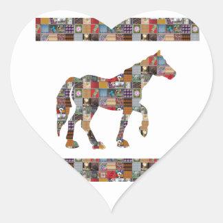 La colección artística del CABALLO remienda los re Pegatina De Corazón