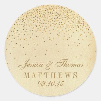 La colección atractiva del boda del confeti del pegatina redonda