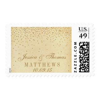 La colección atractiva del boda del confeti del sello postal