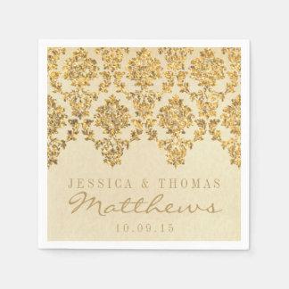 La colección atractiva del boda del damasco del servilleta de papel