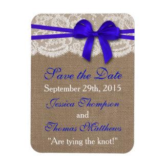 La colección azul rústica del boda del arco rectangle magnet